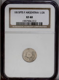 Argentina: , Argentina: Republic 1/2 Real 1815-F PTS, KM1.2, XF40 NGC, fully struck details, scarce in this grade....