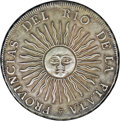 Argentina: , Argentina: Republic 8 Reales 1813J PTS, KM5, toned nearly XF, verynice sunface details, some light patination on the reverse...
