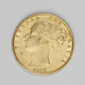 Australia: , Australia: Victoria gold Sovereign 1872/1M, KM6, shield reverse, XFwith considerable mint color, small obverse rim bruise and anotice...