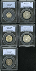 Australia: , Australia: Selection of PCGS Certified Silver, Sixpence 1939 MS64,Shillings 1916M AU55 and 1939 AU58, and Florins 1928 XF40 and 1927C... (Total: 5 Coins Item)