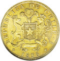 Chile: , Chile: Republic gold 8 Escudos 1835-IJ, Ex: Eliasberg Collectionlot 1384, KM93, AU55 NGC, small single adjustment mark across the...