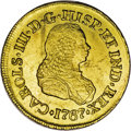 Colombia: , Colombia: Carlos III gold 2 Escudos 1767J Popayan, KM36.2, lustrousAU, large scratches in the obverse fields and dulled surfacescons...