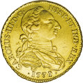 Colombia: , Colombia: Carlos III gold 4 Escudos 1771/0-NR-VJ, KM43.1, XF, tinymount trace at the top on the rim and surfaces lightly polished,bu...