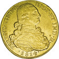 Colombia: , Colombia: Ferdinand VII gold 8 Escudos 1814-NR-JF, KM66.1, choiceXF-AU, lustrous and very attractive, strong details and noadjustmen...