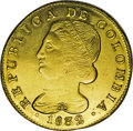 Colombia: , Colombia: Republica de Colombia gold 8 Escudos 1832-UR Popayan, KM82.2, lustrous AU, lightly cleaned with a few tiny scratches on the ...