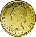 Colombia: , Colombia: Republica de Colombia gold 8 Escudos 1834-UR Popayan,KM82.2, highly lustrous AU-UNC, very boldly struck and attractive -cl...