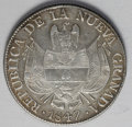 Colombia: , Colombia: Nueva Granada 10 Reales 1847, KM107, lightly toned VF-XF,scarcer date, vague trace of repair at the top....