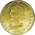 Colombia: , Colombia: Nueva Granada gold 16 Pesos 1838-RU Popayan, KM94.2,lustrous AU, bold and attractive strike, tiny scratch in the leftobver...