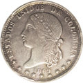 Colombia: , Colombia: Estados Unidos Peso 1869 Medellin, KM154.2, AU50 NGC, the869 of the date is clearly re-punched, lightly toned and fullyori...