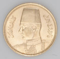 Egypt: , Egypt: Farouk gold 100 Piastres 1938, KM372, choice brilliant UNC,flashy surfaces and very attractive. Struck for the royal weddin...