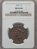 Large Cents: , 1816 1C MS62 Brown NGC. NGC Census: (30/89). PCGS Population(35/78). Mintage: 2,820,982. Numismedia Wsl. Price for problem...