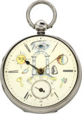 Timepieces:Pocket (pre 1900) , Thomas Crisp Lever Fusee With Masonic Dial, circa 1850. ...