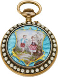 Timepieces:Pocket (pre 1900) , Swiss Miniature Enamel With Pearls. ...