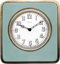 Swiss Enameled Silver Eight Day Clock