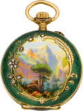 Timepieces:Pocket (post 1900), Borel Miniature Gold & Enamel Hunters Case, circa 1905. ...
