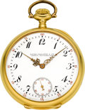 Timepieces:Pocket (post 1900), Patek Philippe & Co. Gold Pocket Watch With Original Box &Papers, circa 1912. ...