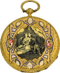 Timepieces:Pocket (pre 1900) , Ami Sandoz & Fils Gold & Enamel Ultra-thin Key Wind, circa1860. ...