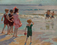 EDWARD HENRY POTTHAST (American, 1857-1927) Children at the Shore Oil on canvas 24 x 30 inches (6