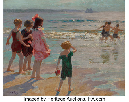 EDWARD HENRY POTTHAST (American, 1857-1927)Children at the ShoreOil on canvas24 x 30 inches (61.0 x 76.2 cm)Sign...