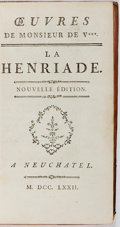 Books:Literature Pre-1900, [Voltaire]. Oeuvres de Monsieur de V*** La Henriade. ANeuchatel, 1772. Nouvelle edition. French text. Illustrat...