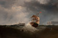 Paintings, CHARLES T. DIX (American, 1838-1873). Shipping off the Coast in Stormy Sea, NY, 1859. Oil on canvas. 40 x 60 inches (101...