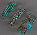 American Indian Art:Jewelry and Silverwork, THREE SOUTHWEST SILVER AND TURQUOISE BRACELETS. c. 1970. ...(Total: 3 Items)
