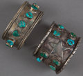 American Indian Art:Jewelry and Silverwork, TWO NAVAJO SILVER AND TURQUOISE BRACELETS... (Total: 2 Items)