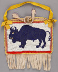 American Indian Art:Beadwork and Quillwork, A NORTHERN PLAINS PICTORIAL BEADED HIDE POUCH. c. 1900...