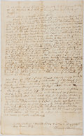 "Miscellaneous:Ephemera, 1764 Legal Document Regarding an Apprenticeship Dispute. 7.25"" x12"", one page, Hartford, Connecticut, September 11, 1784. W..."