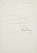 Boxing Collectibles:Autographs, 1931 Gene Tunney Signed Letter....