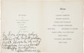 Boxing Collectibles:Autographs, 1940's Gene Tunney Signed, Inscribed Menu....