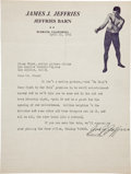 Boxing Collectibles:Autographs, 1941 James J. Jeffries Signed Letter....