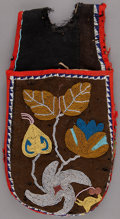 American Indian Art:Beadwork and Quillwork, A CHIPPEWA BEADED CLOTH POMMEL BAG . c. 1900 ...