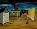 Texas:Early Texas Art - Modernists, KELLY FEARING (American, 1918-2011). Back Lot Rehearsal,1941. Oil on gesso panel. 16 x 20 inches (40.6 x 50.8 cm). Sign...