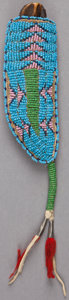 American Indian Art:Beadwork and Quillwork, A SIOUX BEADED HIDE MODEL KNIFE SHEATH . c. 1903... (Total: 2Items)