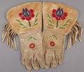 American Indian Art:Beadwork and Quillwork, A PAIR OF PLATEAU BEADED HIDE GAUNTLETS ...