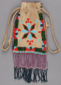 American Indian Art:Beadwork and Quillwork, AN APACHE BEADED HIDE POUCH. c. 1910...