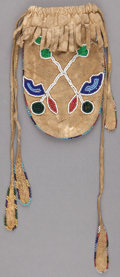 American Indian Art:Beadwork and Quillwork, A PLAINS BEADED HIDE DRAWSTRING POUCH ...
