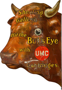 UMC Cartridges Large Advertising Bull's Eye Tin Sign