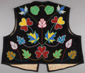 American Indian Art:Beadwork and Quillwork, AN OJIBWE BEADED CLOTH VEST. c. 1920...