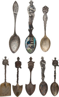 Lot of Eight Sterling Silver Souvenir Spoons With California Gold Mining Designs, Circa 1899-1904