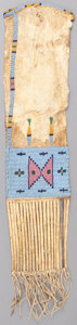 American Indian Art:Beadwork and Quillwork, A SIOUX BEADED HIDE TOBACCO BAG . c. 1880...