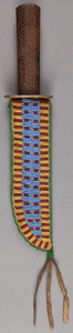 American Indian Art:Beadwork and Quillwork, A SIOUX BEADED HIDE KNIFE SHEATH . c. 1900... (Total: 2 Items)