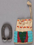 American Indian Art:Beadwork and Quillwork, A PLAINS BEADED HIDE POUCH AND FLINT STEEL ... (Total: 2 Items)