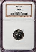 Proof Roosevelt Dimes: , 1951 10C PR66 NGC. NGC Census: (201/500). PCGS Population(659/412). Mintage: 57,500. Numismedia Wsl. Price for problemfre...
