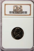Proof Jefferson Nickels: , 1951 5C PR68 NGC. NGC Census: (146/3). PCGS Population (14/0).Mintage: 57,500. Numismedia Wsl. Price for problem free NGC/...