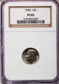 Proof Roosevelt Dimes: , 1950 10C PR65 NGC. NGC Census: (113/558). PCGS Population(380/853). Mintage: 51,386. Numismedia Wsl. Price for problemfre...