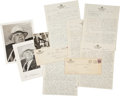 Football Collectibles:Others, 1931-53 Glenn Pop Warner Signed Photographs and Handwritten Documents Lot of 27....