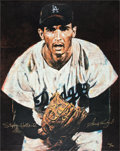 Baseball Collectibles:Others, Circa 2000 Sandy Koufax Signed Giclee by Stephen Holland....