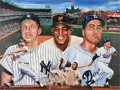 "Baseball Collectibles:Others, 1986 ""Willie, Mickey & The Duke"" Original Artwork by RobertStephen Simon...."